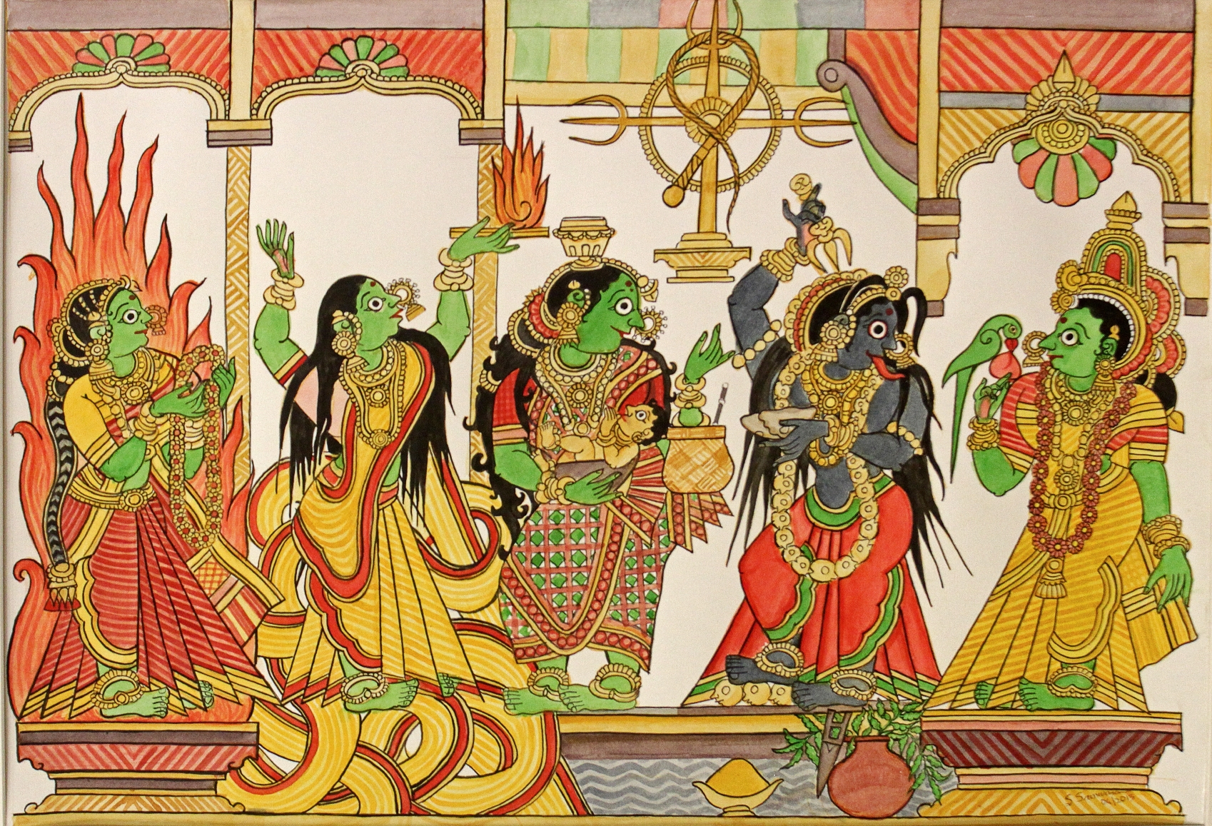 'Draupadi in Five Forms' by Balaji Srinivasan, inspired by Chitrakathi