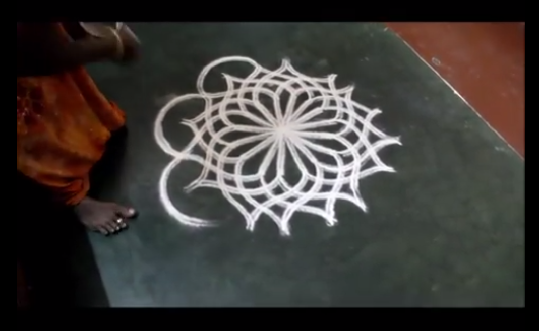 kolam when hands are drawing sahapedia