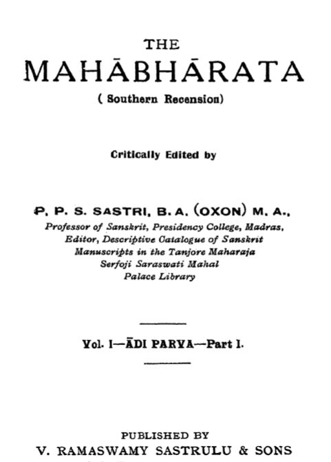 The Mahabharata (Southern Recension), ed. P.P.S. Sastri, 1931-33