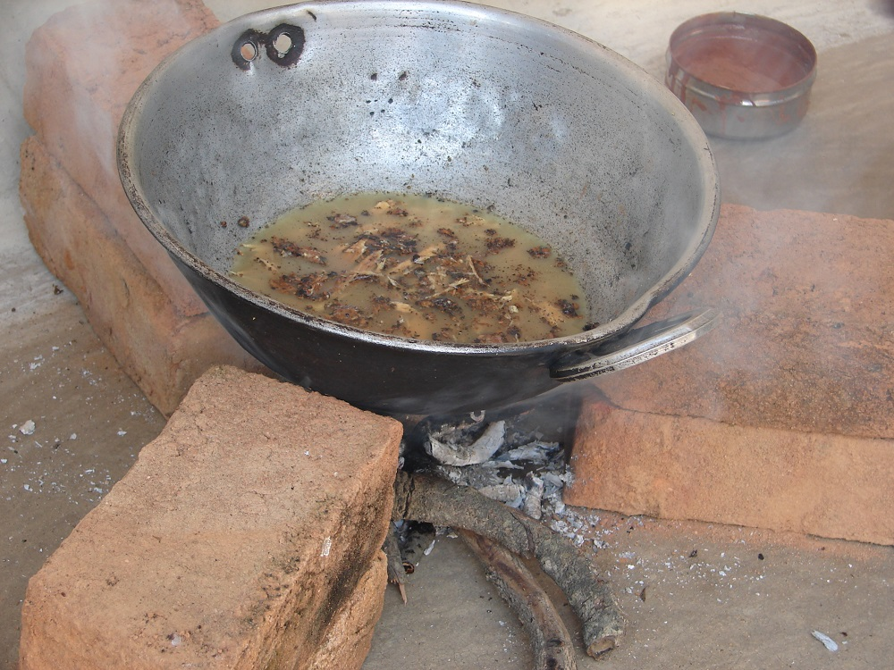 boiling bark with water