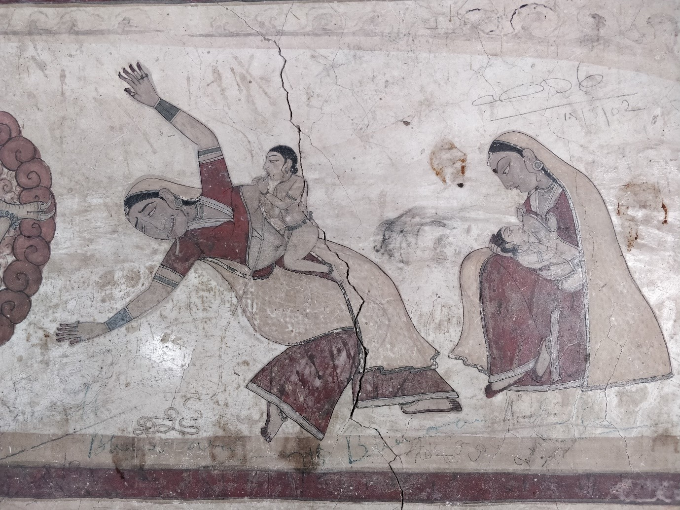 Fig.1.Krishna slaying Putana, eastern wall of the Devi Kothi, Chamba. (Courtesy:Sarang Sharma)