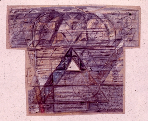 Untitled (1986); mixed media on paper; 12 inches x 8 inches;