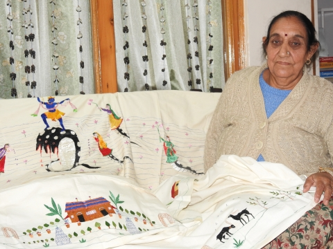 Rajinder Kumari Nayyar (76), a senior artist in Chamba, worked as a trainer at the first Chamba embroidery centre in the 1960s, which was set up by the efforts of Kamaladevi Chattopadhyay, and run by the national award winning Chamba embroidery artist, Maheshi Devi.