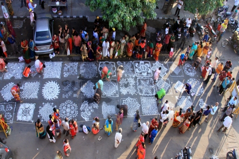 Kolam competition during the Mylapore Festival, 2018.
