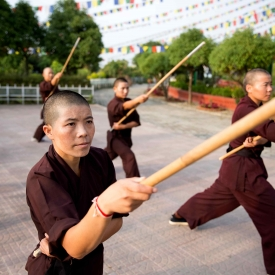 The Chinese word gun refers to a long staff used as a weapon. It is one of the four major weapons, along with the qiang (spear), dao (sabre), and the jian (straight sword), used in Chinese martial arts.