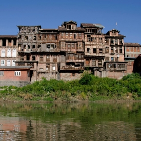 The Jhelum riverbank in Downtown Srinagar is like a living gallery of traditional Kashmiri residential architecture (Courtesy: Parshati Dutta)