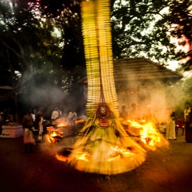 Thira is a ritual dance-drama where various deities of the land are invoked and they give divine blessings for the welfare of the land and the people. Thira is unique to the Malabar region in Northern Kerala, where it is performed in sacred shrines and ancestral temples located in kavus (Courtesy: Kirthana Devdas)