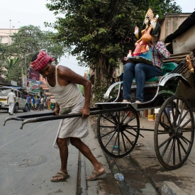 An archaic relic in the age of modern modes of transportation, hand-pulled rickshaws have phased away from the countries where they originated, like Japan and China, but continue to exist in India. In Kolkata, they are still used as a mode of transport (Courtesy: Soumya Shankar Ghosal)