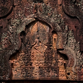 Built in the mid-10th century, Banteay Srei was built as a Hindu Temple dedicated to Lord Shiva in his form as Tribhubaneswara. The temple has the finest stone carving in Angkor and is considered a jewel of Khmer art.