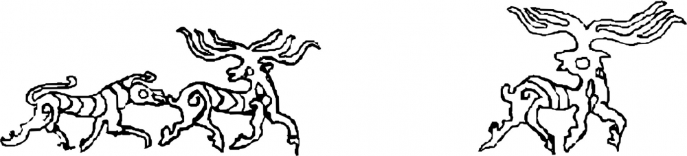 Fig. 12. A scene of a predator chasing prey with stylistically drawn figures is one of the finest representations at the Tangtse site