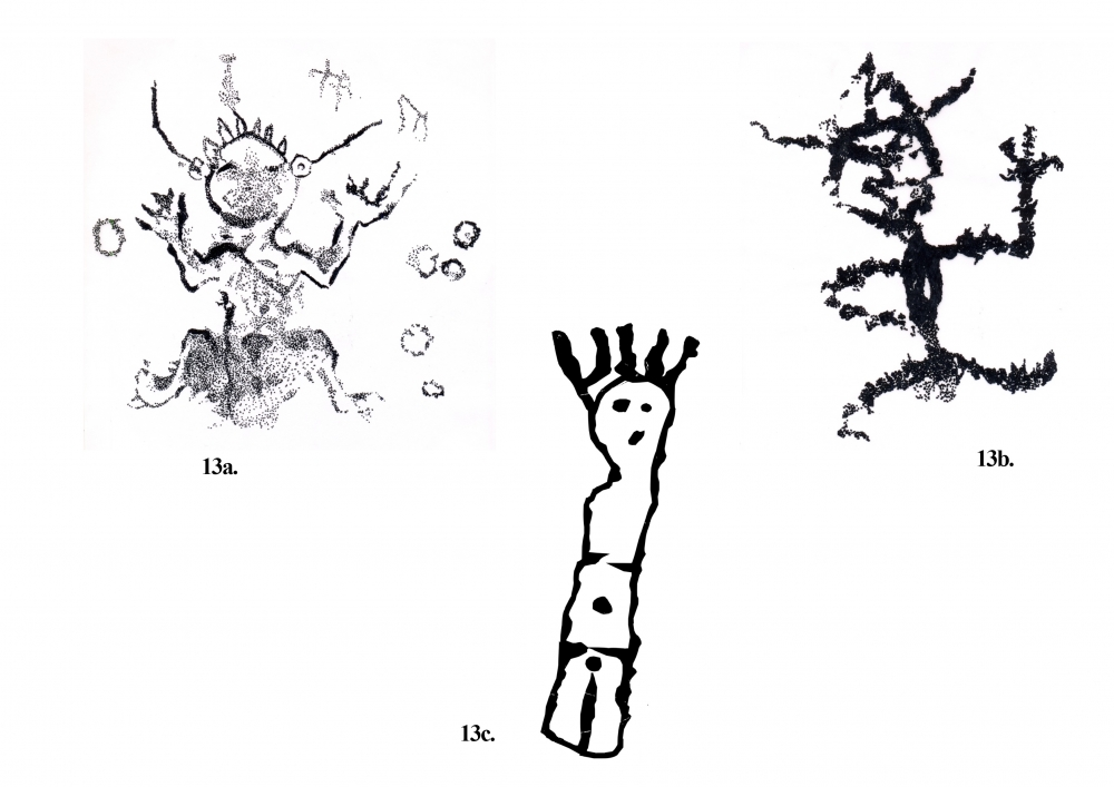 Fig. 13. (a–c) Anthropomorphic figures seen near Tangtse village, they are rare in their style