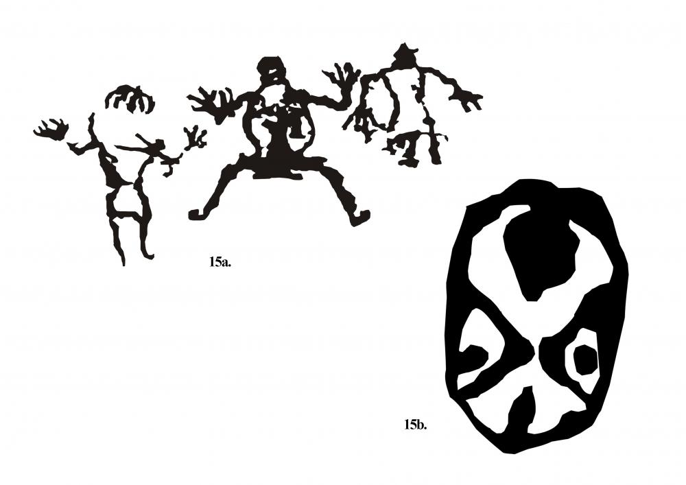 Fig. 15: (a) A rare representation of giant-like human forms; (b) one of the six mask-like figures near Sasoma