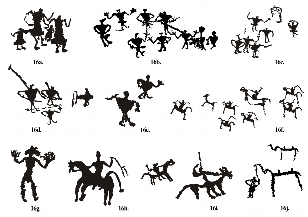 Fig. 16.(a–j) The human forms found at Ensa site is in fact a stylistic representation that seems confined to this particular site