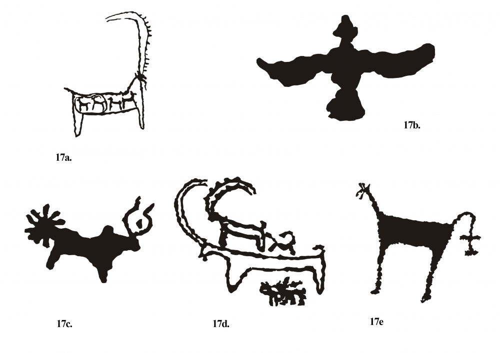 Fig. 17.(a–e) Some of the animal figures at Ensa are stylistically peculiar