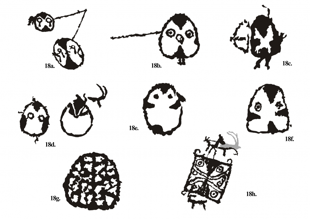 Fig. 18.(a–h) Some of the mask-like figures from Ensa site. The first few figures give a clue that the mask-like figures are associated with hunting