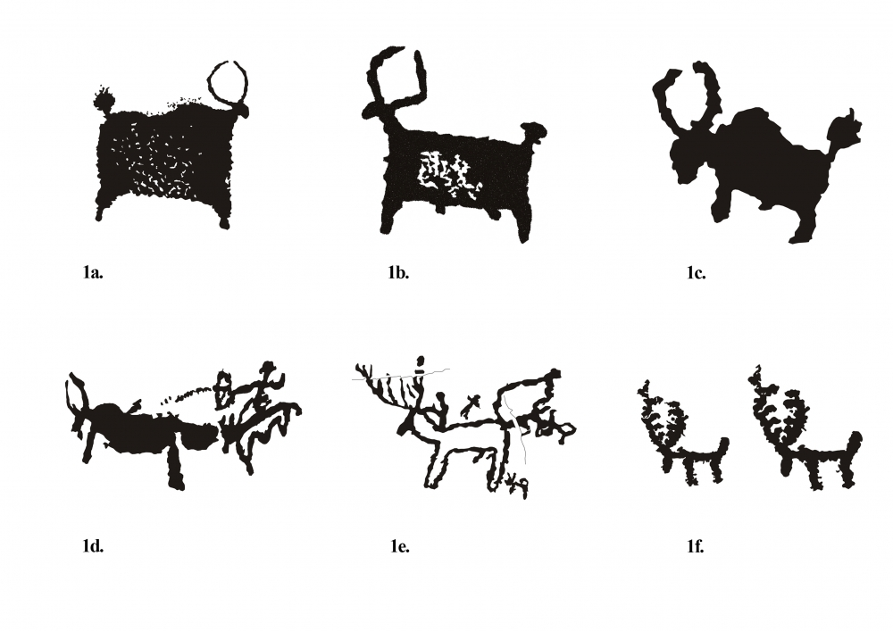 Fig. 1. (a–f) Yaks and deer representations from Kairy site
