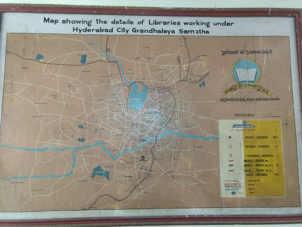Fig. 2.Wall-map of libraries under the HCGS, listing 81 branch libraries and 191 'aided' institutions in the city.