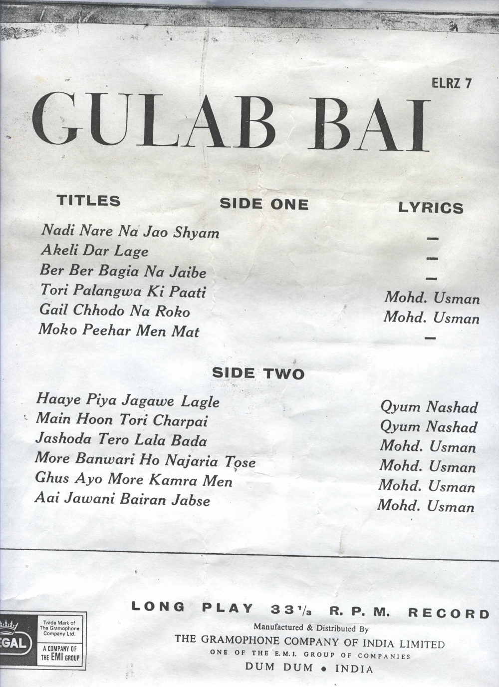 Fig. 2: Song list, on back jacket of Gulab Bai's LP record; the first song, 'Nadi Nare Na Jao Shyam', was her best known, extremely popular number, which people would request her to sing well into old age (Courtesy: Deepti Priya Mehrotra).