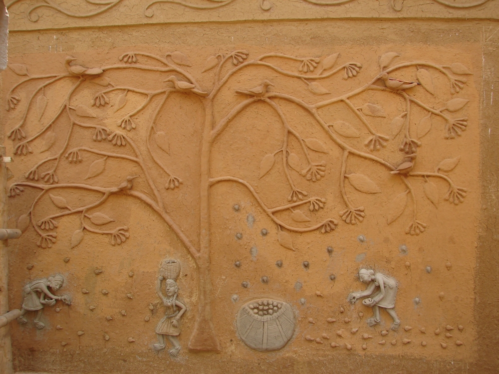 Clay relief work inside home