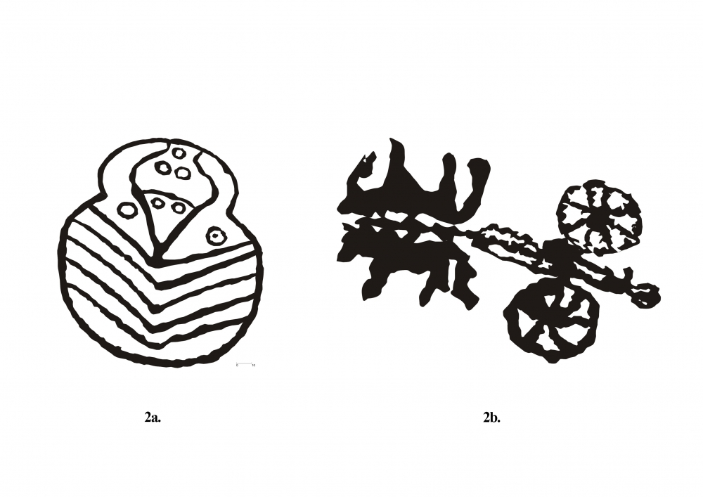 Fig. 2. (a-b). One of the two similar figures of a known sign from Shara site and the only representation of a chariot at Kharu site