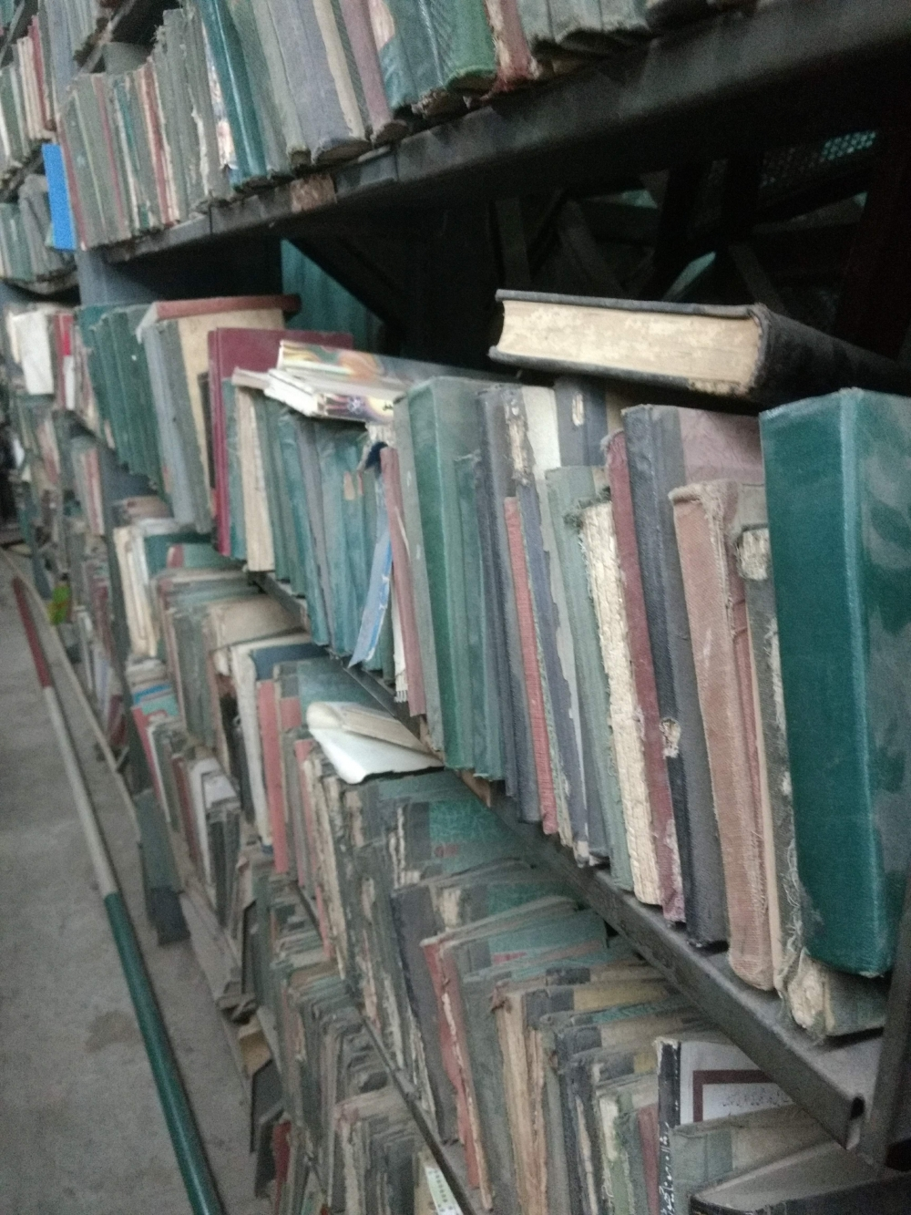 Fig. 3. Old Urdu books—novels, anthologies of poetry and the occasional translation of Thoreau's Walden—stacked in the Shalibanda library.