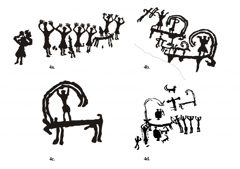 Fig. 4. (a–d) From a site between Skyubuchan and Achinathang, a rare human representation, including animal-human conflation figures; (d) figures from Skyurbuchan