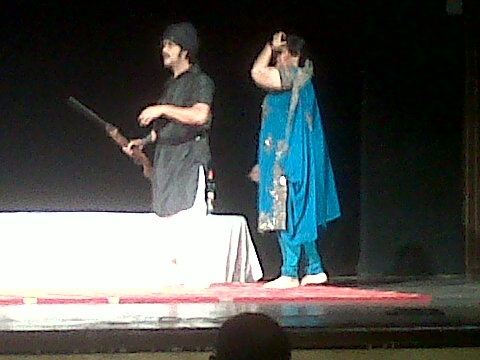 Fig. 7:Sultana Daku, performed in 2010 at India Habitat Centre, New Delhi, by the Great Gulab Theatre Company. The nautanki, based on a true story, has been performed thousands of times, by different nautanki troupes, since the 1920s. Here we see Phulkunwari, enacted by Madhu Agarwal (Courtesy: Deepti Priya Mehrotra)