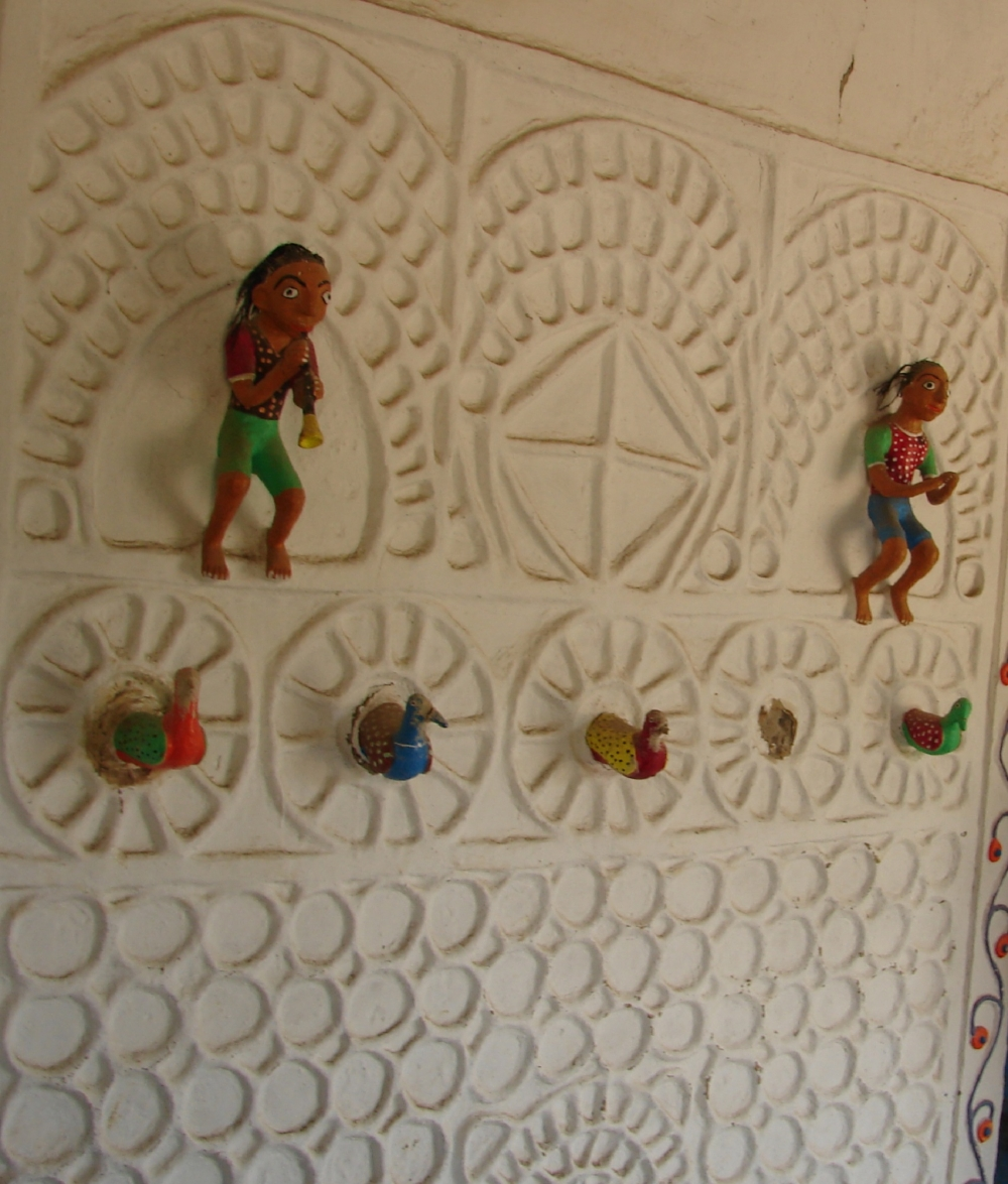 Rajwar clay relief work on the walls of the training centre