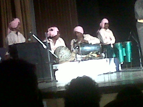 Fig.8: Musicians at the performance of Sultana Daku by the Great Gulab Theatre Company in 2010—the photo shows nakkara, dholak and congo (Courtesy: Deepti Priya Mehrotra)