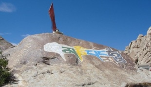 Fig. 9. One of the boulders with signs and symbols. This one is superimposed with engraved and painted Buddhist mantras, Tangtse Village (Courtesy: Tashi Ldawa Thsangspa, 2012)
