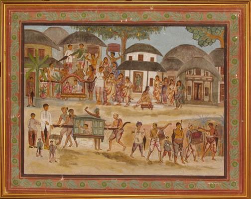 A village scene, Canvas pasted on board, Birbhum, early 20 Century AD, a collection of the Gurusaday Museum, Joka, Kolkata