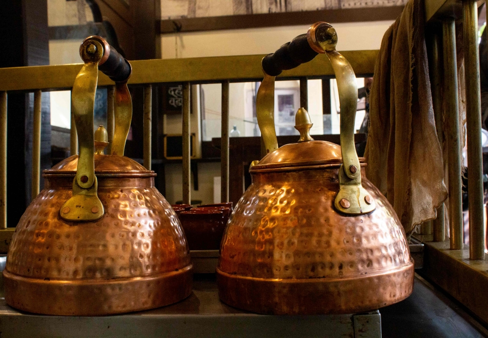 Copper vessels in which teas are brewed at Pune's amruttulyas, Courtesy: Sahapedia Pune Cultural Mapping Project