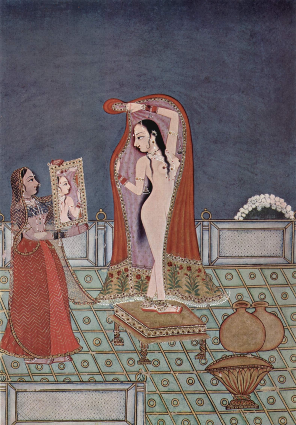 A ragmala series painting showing a woman after her bath, 1775 (Courtesy: Allahabad Museum/Wikimedia Commons)