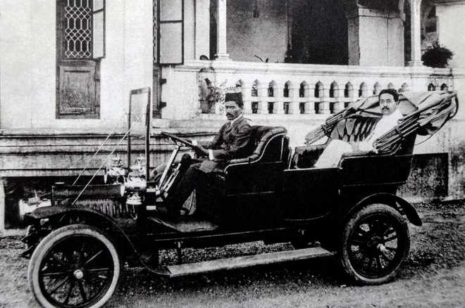 Ambalal Sarabhai in the first car which came to Ahmedabad. Photograph, dated 1910