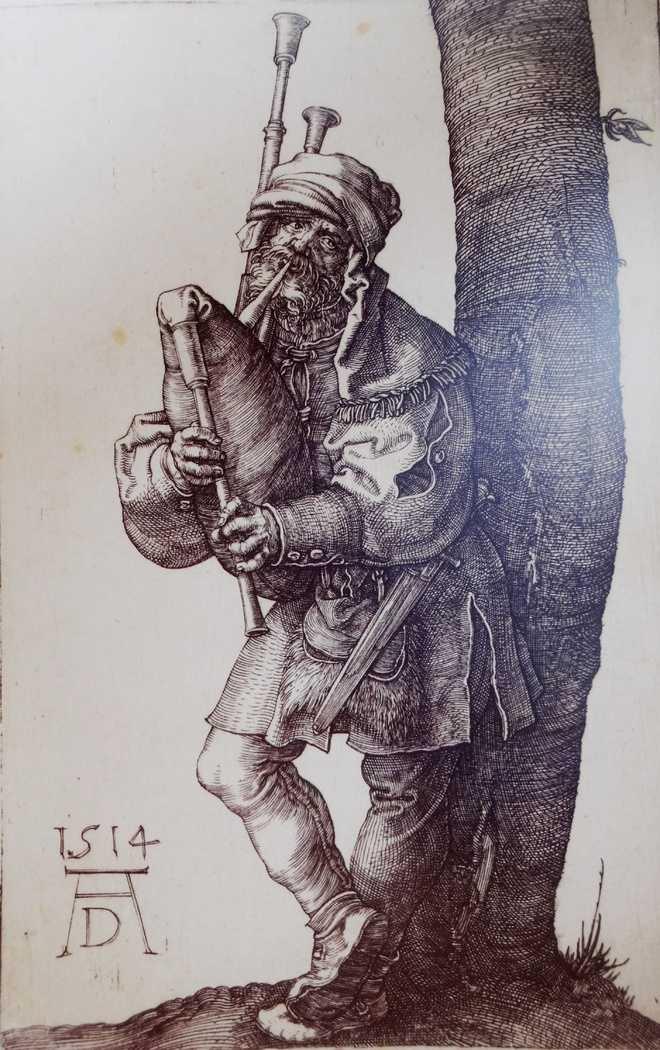 Bagpiper: engraving by Albrecht Durer, 1514 (Courtesy: The Tribune)