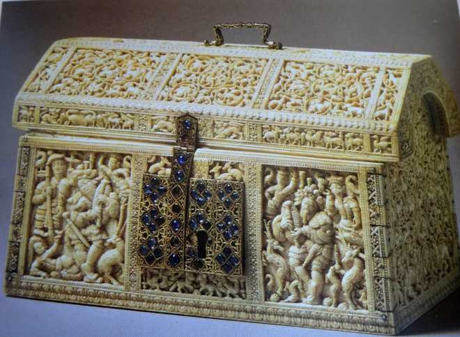 The Casket with a panel featuring Durer's Bagpiper. Sri Lanka (Courtesy: The Tribune)