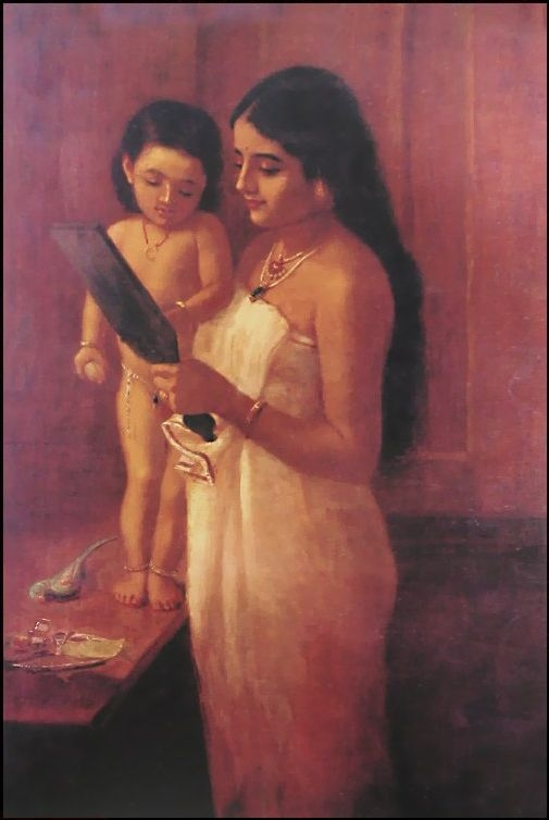 A Raja Ravi Varma painting of a woman and a child looking into a mirror (Courtesy: Wikimedia Commons)