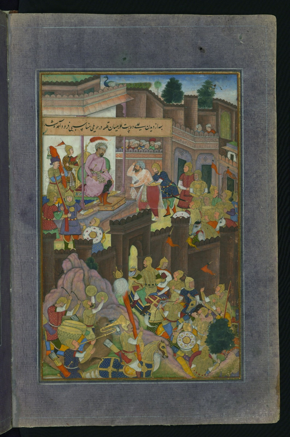 Having opened the gates of the Murghīnān fortress, ʿAlī Dūst Ṭaghāyī is paying homage to Babur, from Illuminated manuscript Baburnama, Courtesy: Walters Art Museum - Flickr