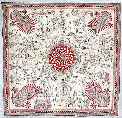 Bayton Kantha, c.9th Century AD, Khulna (Undivided Bengal). Baytan Kanthas are used to cover food plates