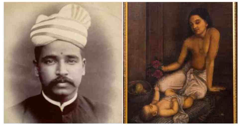 C Raja Raja Varma and his painting, 'Baby And Princess' (1887), Courtesy: The Raja Ravi Varma Heritage Foundation via Google Arts and Culture
