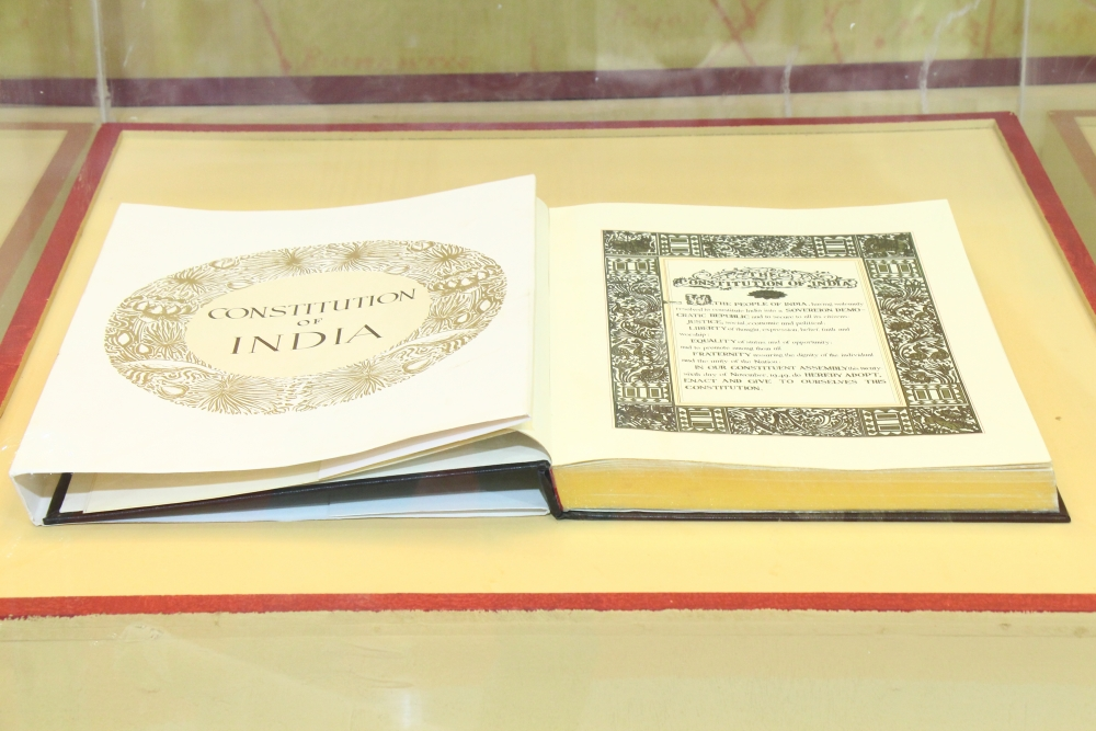 Constitution of India on display in Hyderabad, Courtesy: Wikimeddia Commons