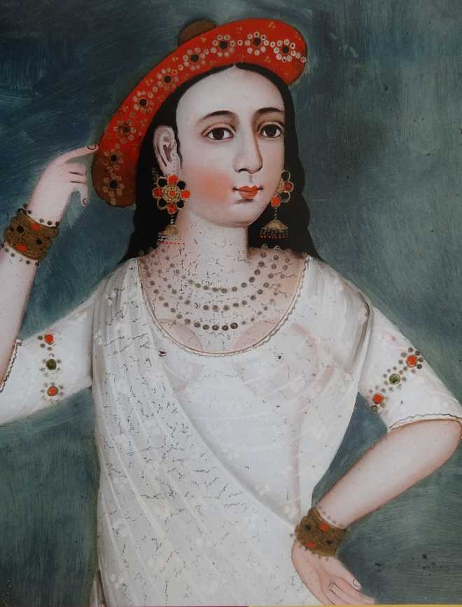 Courtesan in a red hat - Reverse painting on glass - Possibly Kutch - Mid-19th century_The Tribune