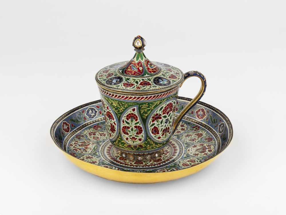 Cup, cover and saucer c. 1870 - 1875. Gold, enamel and diamond, Ghuma Singh, Photo: Royal Collection Trust / © Her Majesty Queen Elizabeth II 2021