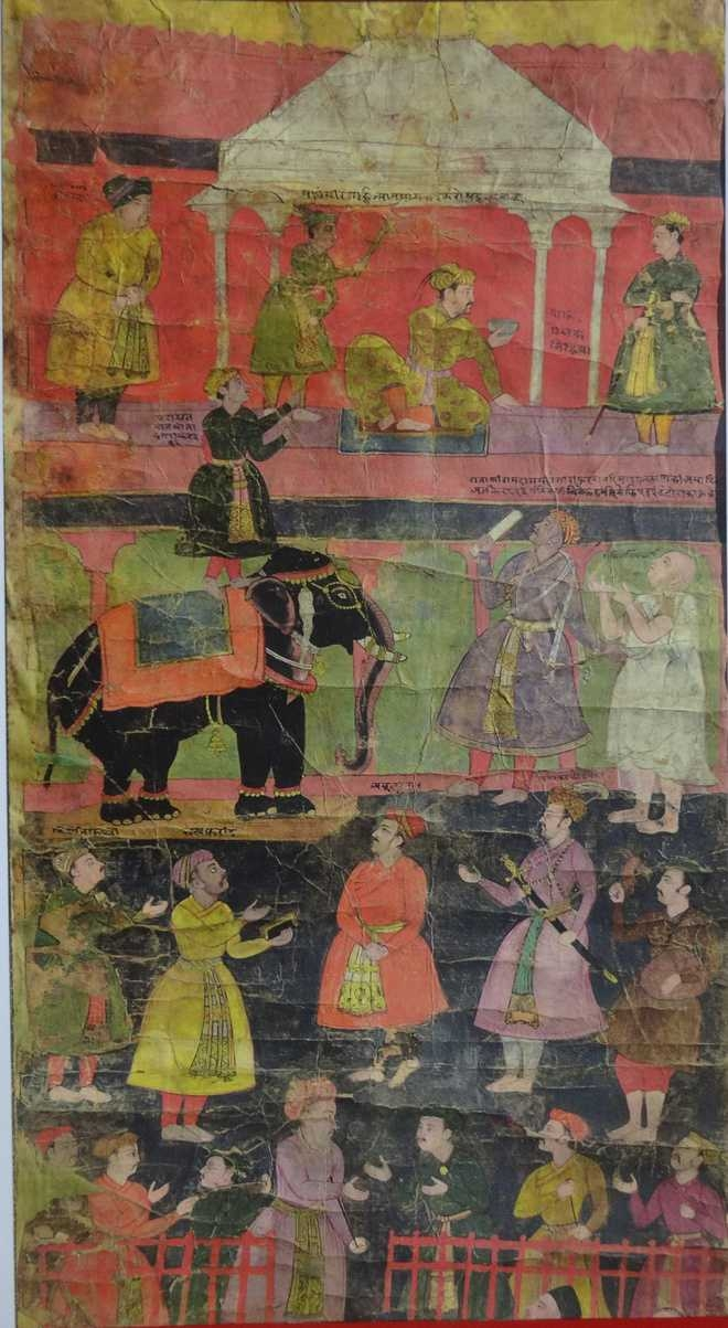 Detail from a Vijnaptipatra showing the Emperor Jahangir receiving a petition - By Ustad Salivahana - 1610 AD_LD Institute of Indology_The Tribune