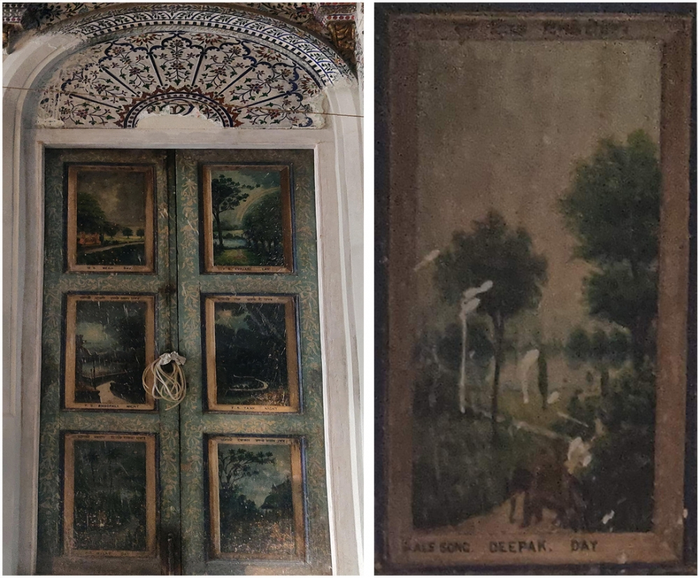 Fig. 3: Ragamala painting. Left: One of the three doors on the eastern side. Right: Details of the Raga Deepak. There are six doors on the eastern and western ends, three on each end of the hall. The leaf of each door is divided into three panels; each panel contains a single painting depicting a raga or ragini giving the painting an appearance of being painted within a frame. A description of the raga is written on top of the panel, a technique common to many miniature Ragamala paintings; the gender and name of the raga or ragini and the time to sing it is found at the bottom  (Courtesy: Kaza Ghosh)