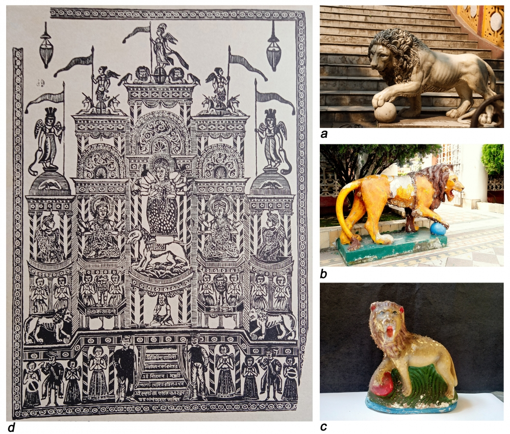 Fig. 4. a: Medici Lion, Chandaprabhaji temple. A pair of lions is placed in front of the staircase leading to the veranda adjoining the sanctum. b: Medici Lion, Mahavirswami temple, a pair of lions is placed in front of the side entrance. There is a similar lion on top of the main entrance.  c: Clay model of a similar lion collected from a village fair in the 2000s (Photo courtesy: Banty Chanda) d: Bindhyabasini, another name for Durga with Katyayani and Indrani (as identified in the print). Coloured woodcut print by Ramdhan Swarnakar, active during the nineteenth century, now in the collection of Victoria and Albert Museum. Two Medici Lions can be seen on top left and top right just above the bottom section (Photo courtesy: Sritama Halder)
