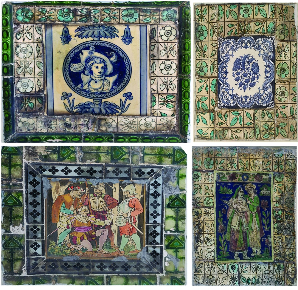 Fig 5: The bases of the statues around the garden are adorned with colourful tiles on three or four sides. The styles of the paintings on the tiles range from illustration types and abstract designs to floral motifs and portraits (Photo courtesy: Kaza Ghosh)
