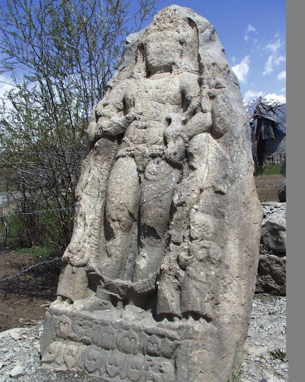 Fig. 1. The sculpture at Drass, first of the series of sculptures specific to Kashmiri Buddhist art in different parts of Ladakh(Courtesy: Tashi Morup 1999-2000)
