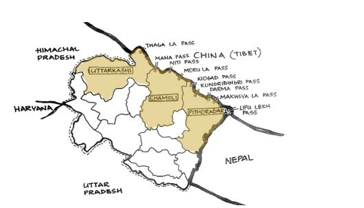 Fig 1: Map of Uttarakhand showing the border districts and passes connecting Tibet with India (Courtesy: Sweta Kandari)
