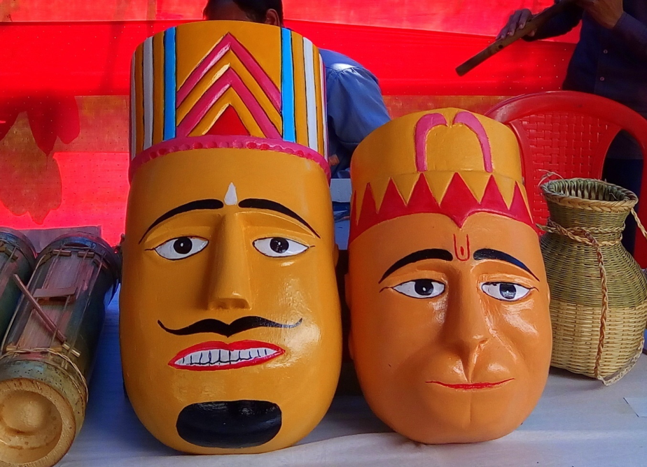 Fig. 1: Wooden masks used in bhari gan. Courtsey: Akhyai Jyoti Mahanta